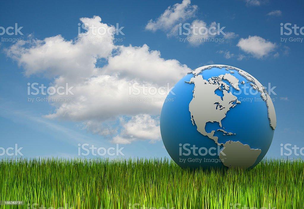 World Globe on the Grass stock photo
