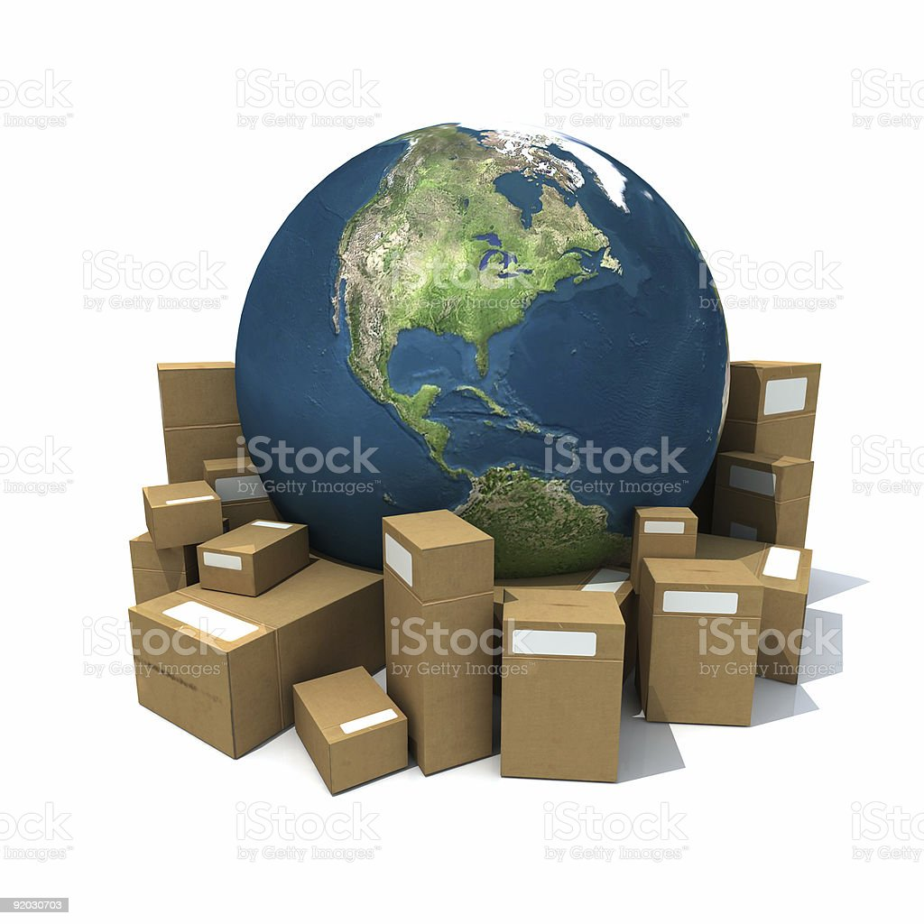 World globe surrounded by cardboard boxes royalty-free stock photo