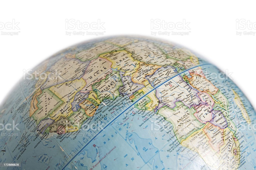 World Globe with Map of Africa stock photo