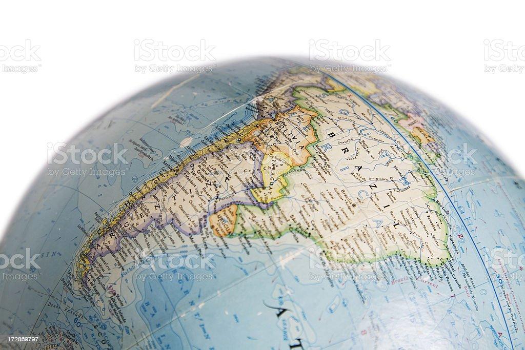 World Globe con un mapa de América del Sur - foto de stock
