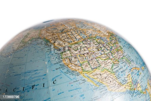 World Globe With Map Of Usa And North America Stock Photo - Globe of usa