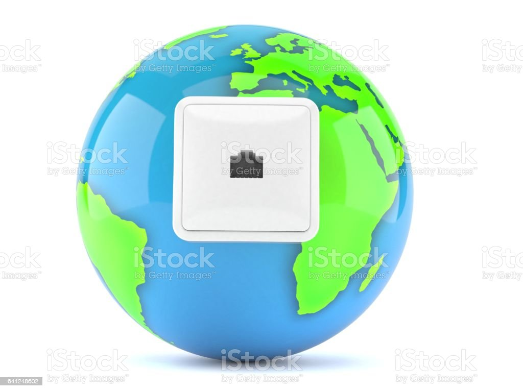World globe with network socket stock photo