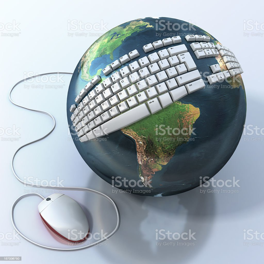 World globe wrapped with keyboard and attach to a mouse royalty-free stock photo
