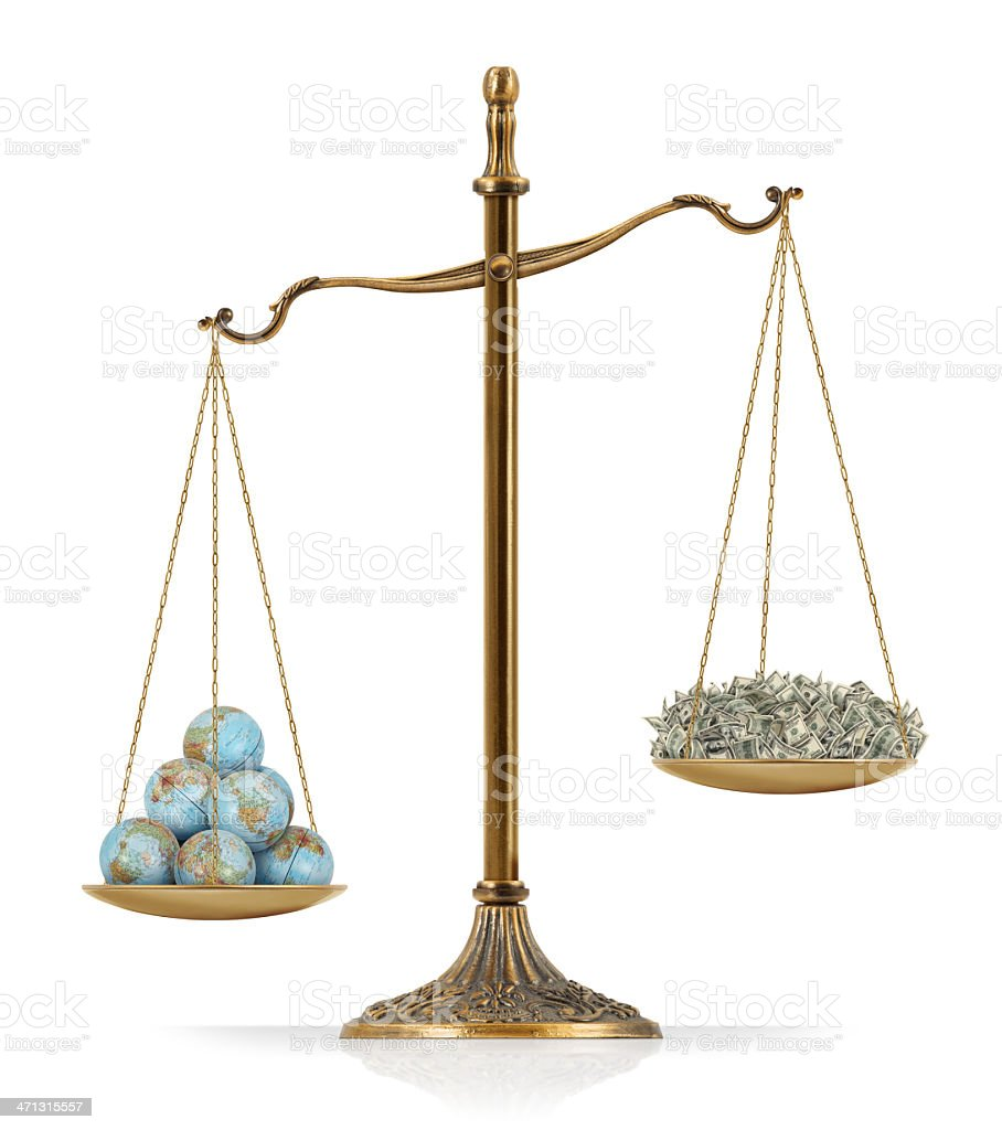 "World Globes Heavier Than Money There are world globes at the one side of ""Scales of Justice"" while there is money on the other side. In this version, world globes seems heavier than money. Isolated on white background. American One Hundred Dollar Bill Stock Photo"