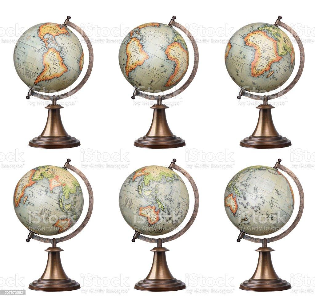 world globes set stock photo