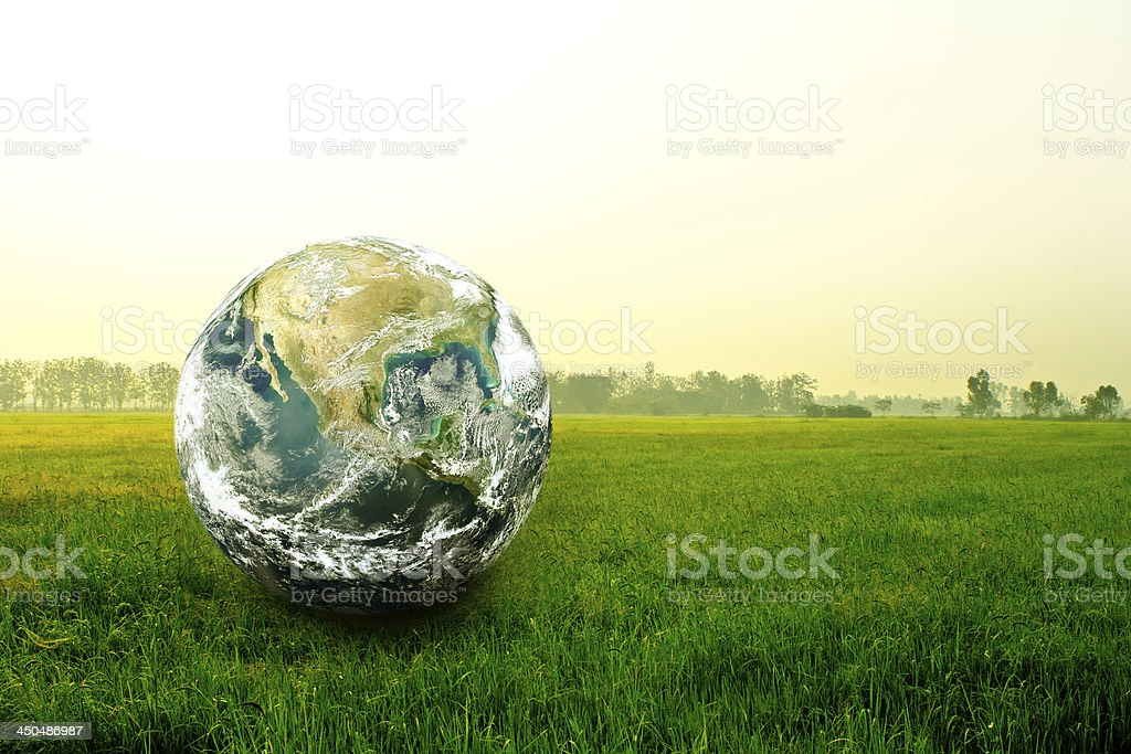 World glove on The field stock photo