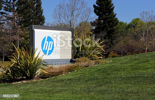 Palo Alto, CA, USA – March 18, 2014: The HP World Headquarters located in Palo Alto. Hewlett-Packard is an American multinational information technology corporation and computer hardware manufacturer.