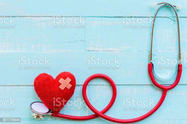 World Health Day Healthcare And Medical Concept Stethoscope And Red Heart On Pastel White And Blue Wooden Table Background Texture - zdjęcia stockowe i więcej obrazów Badanie lekarskie