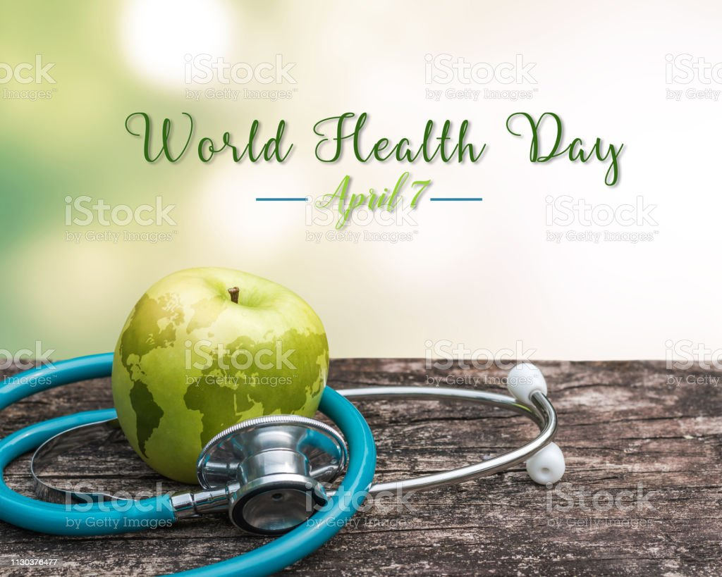 World health day symbolic concept with map on healthy nutritional...