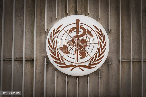 istock World Health Organization (WHO / OMS) Logo at WHO Headquarters - Geneva, Switzerland 1216302919