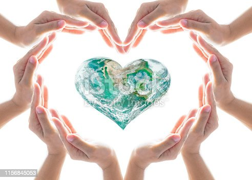 istock World heart health day and CSR concept with heart-shape collaborative hands: Elements of this image furnished by NASA 1156845053