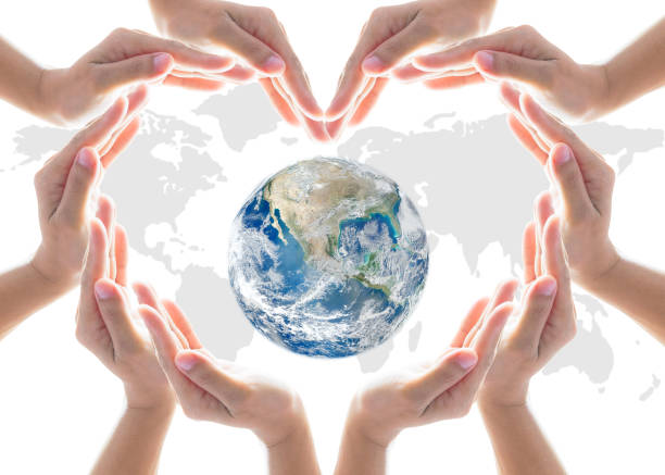 world heart health day concept with collaborative hands protection in heart shape: elements of this image furnished by nasa - environmental consciousness stock pictures, royalty-free photos & images