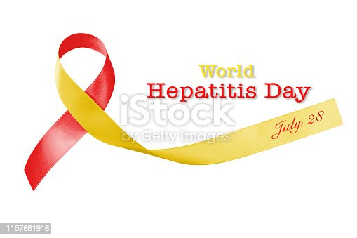 istock World hepatitis day and HIV/ HCV co-infection awareness with red yellow ribbon  (isolated  with clipping path on white background) 1157661916