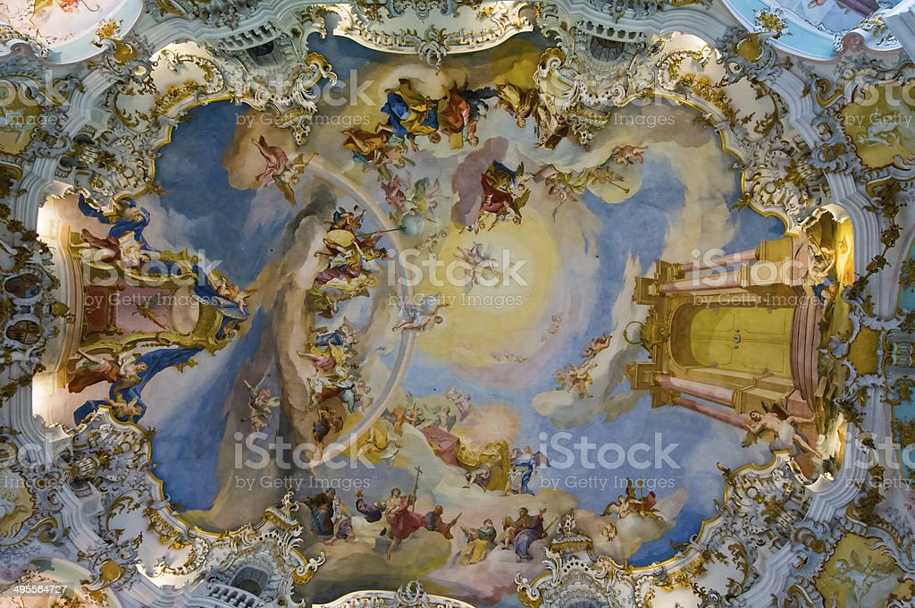 World heritage frescoes of wieskirche church in bavaria stock photo