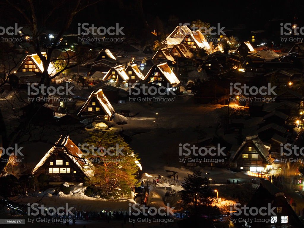 World Heritage ,Light up of Shirakawago JAPAN stock photo