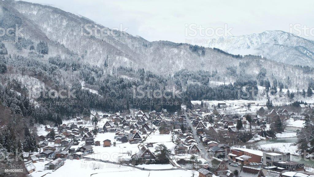 World heritage Shirakawago in winter, Japan. stock photo