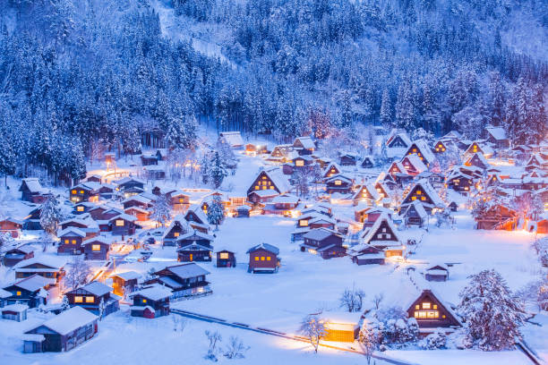 World Heritage Site Shirakawago village and Winter Illumination stock photo