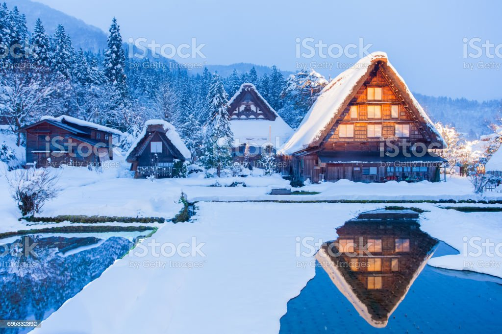 World Heritage Site Shirakawago village stock photo