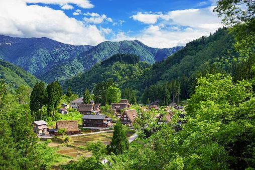 Gassho-zukuri houses in Gokayama Village. Gokayama has been inscribed on the UNESCO World Heritage List due to its traditional Gassho-zukuri houses, alongside nearby Shirakawa-go in Gifu Prefecture.