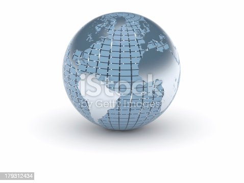 186019678istockphoto (3d) World in blue and metal 179312434