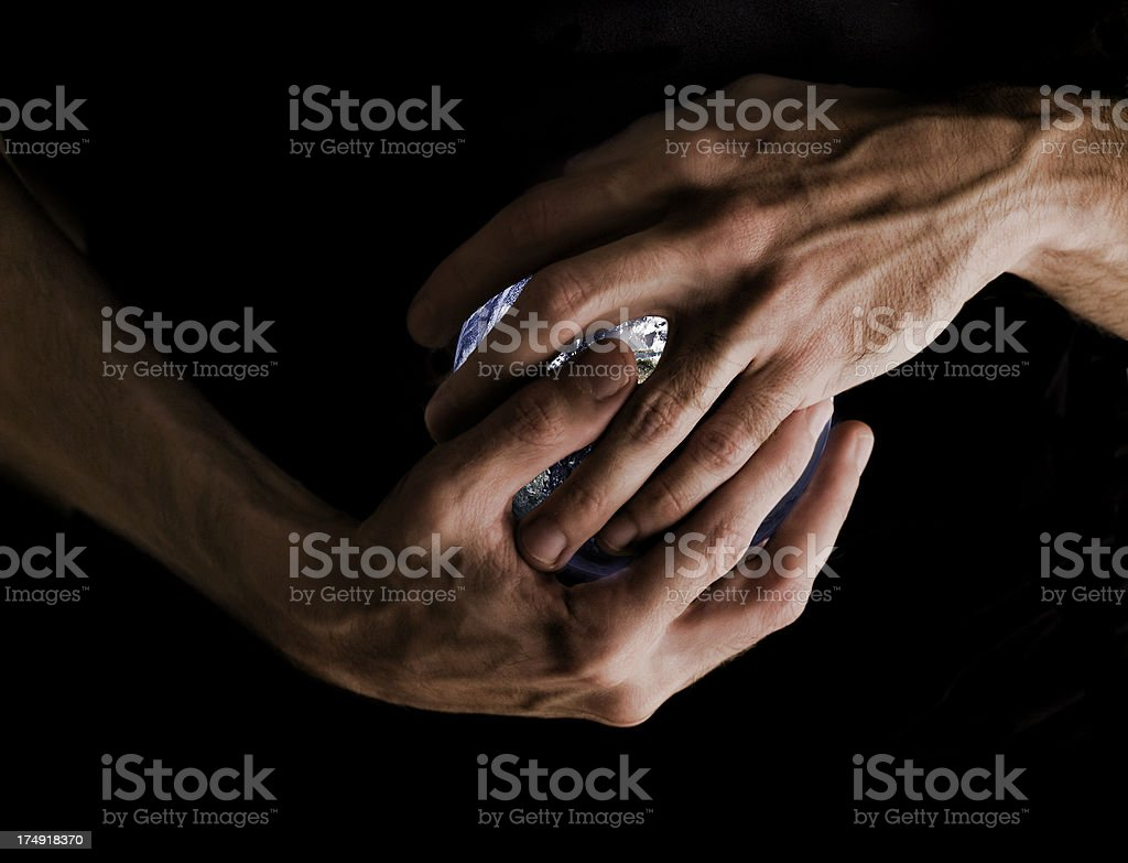 World in hand, color version stock photo