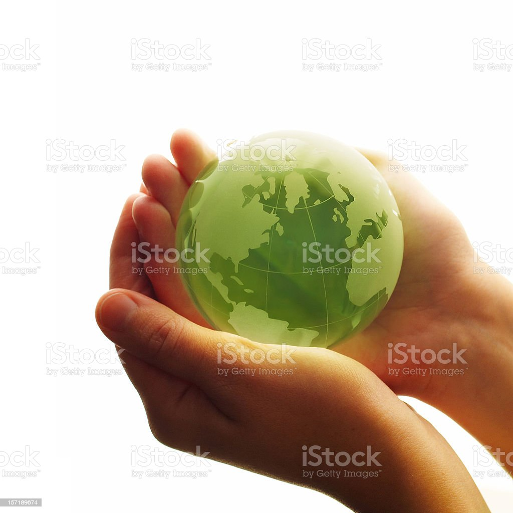 World in hands (High Key) royalty-free stock photo