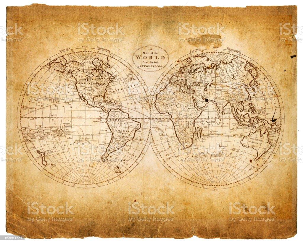 world in hemispheres 1809 stock photo