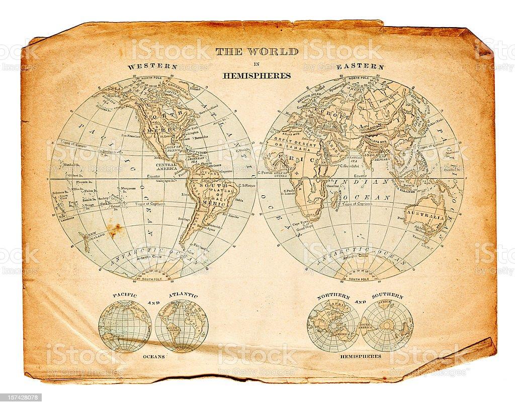 world in hemispheres 1832 stock photo