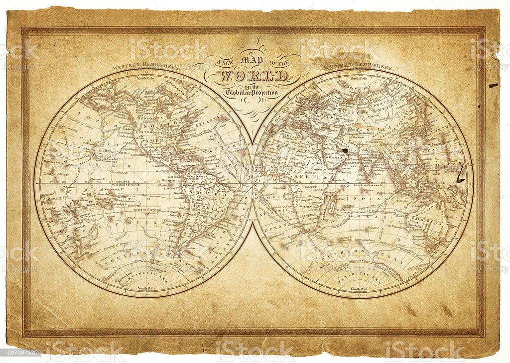 world in hemispheres 1854 stock photo