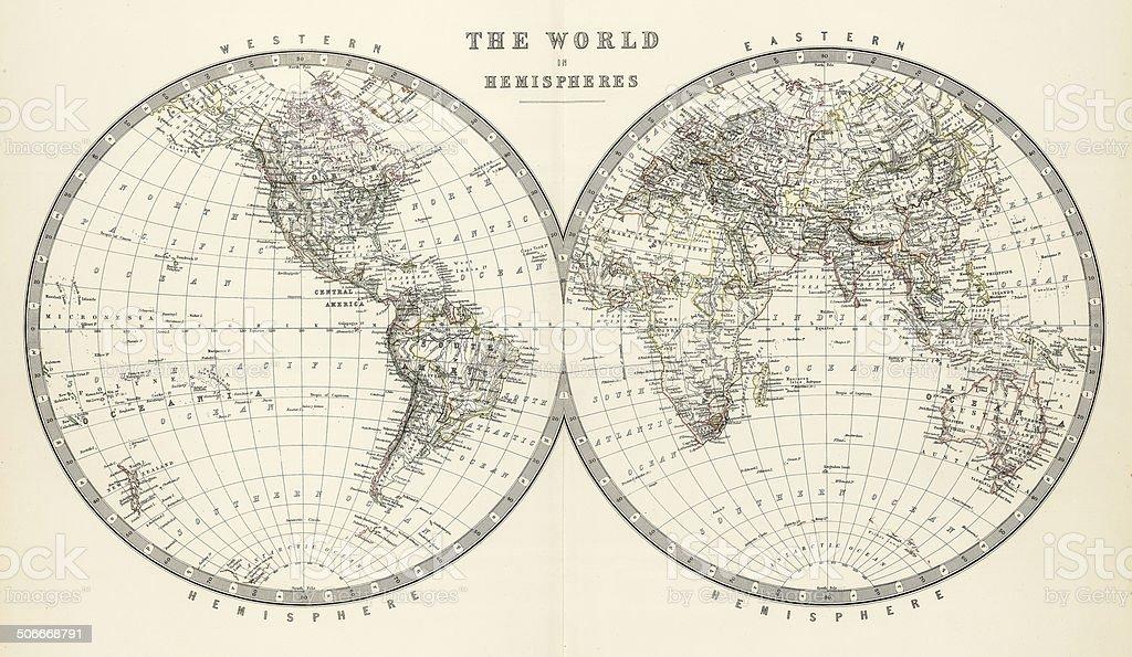 world in hemispheres 1861 stock photo