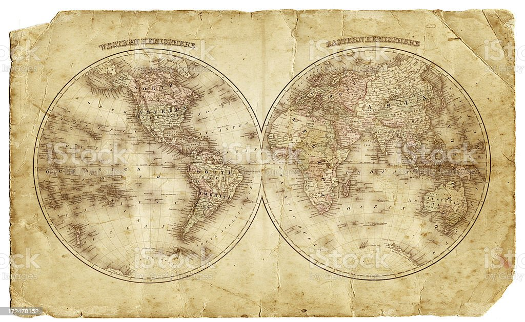 world in hemispheres 1874 royalty-free stock photo