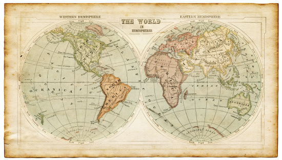 old worn map - the world in hemispheres 1875