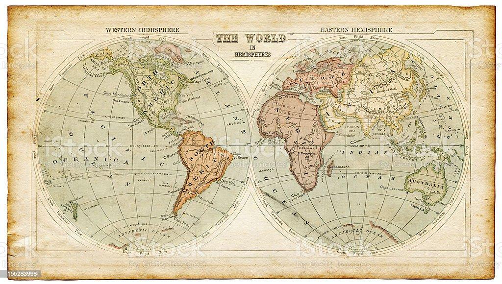 world in hemispheres 1875 stock photo