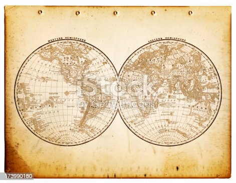 old worn map - the world in hemispheres, layered with grunge piece of paper - 1890