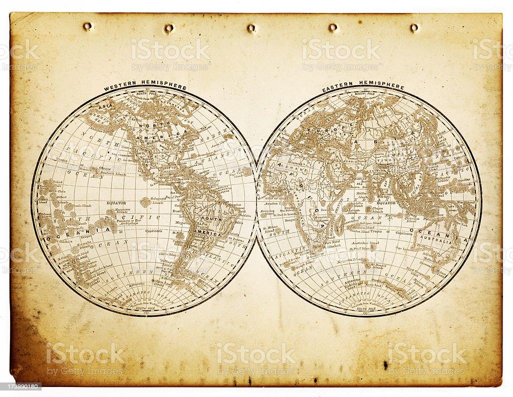 world in hemispheres 1890 stock photo