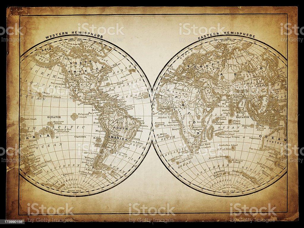world in hemispheres stock photo