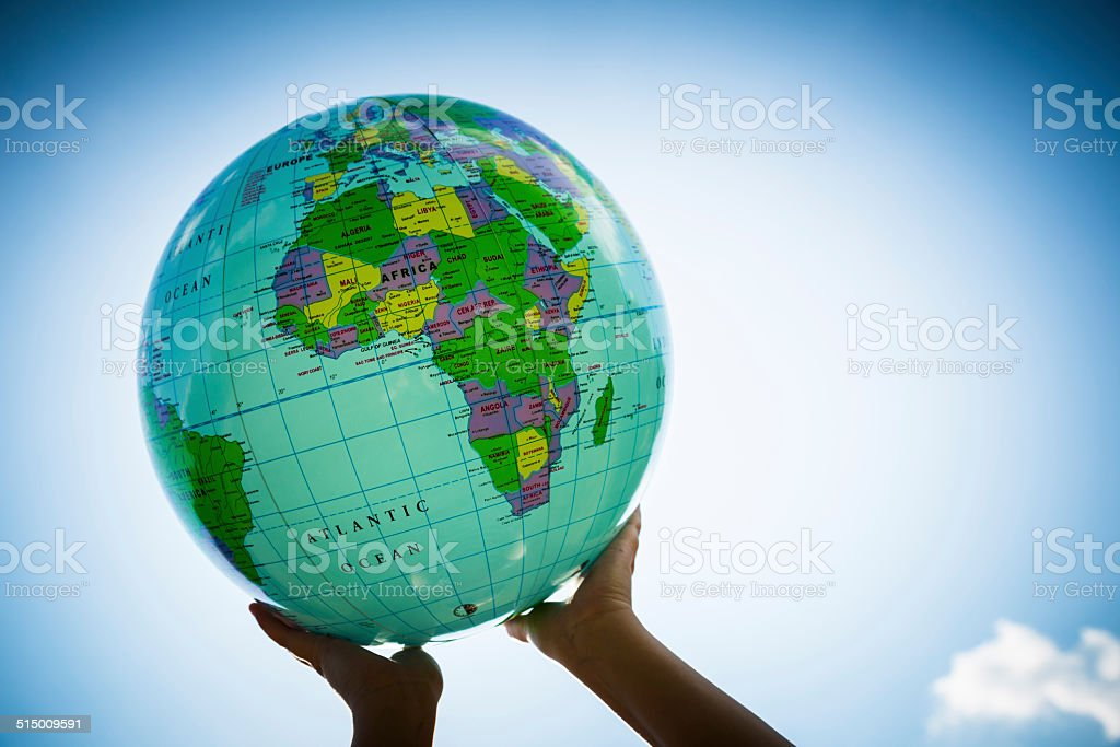 World in her Hands stock photo