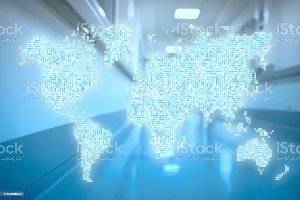 World in hospital corridor Abstract healthcare concept stock photo