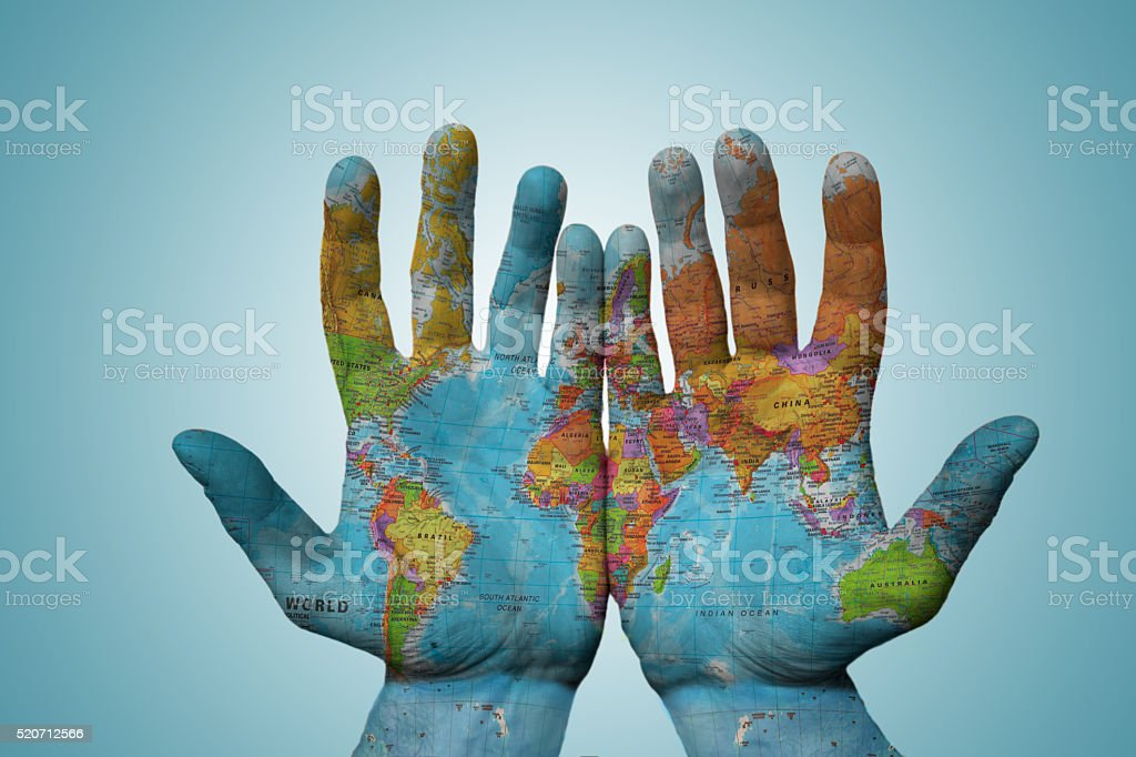 World in my hands stock photo