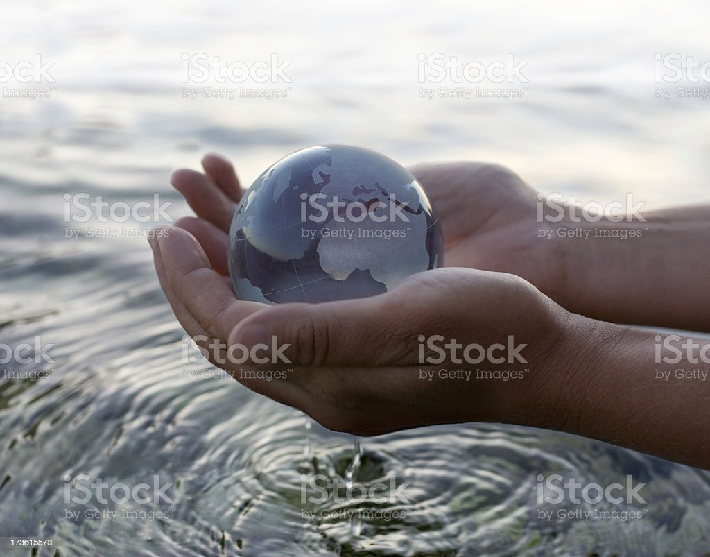 World in the hand stock photo