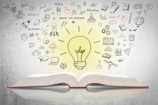 world intellectual property day and education concept with innovative light bulb on book with doodle - правописание стоковые фото и изображения