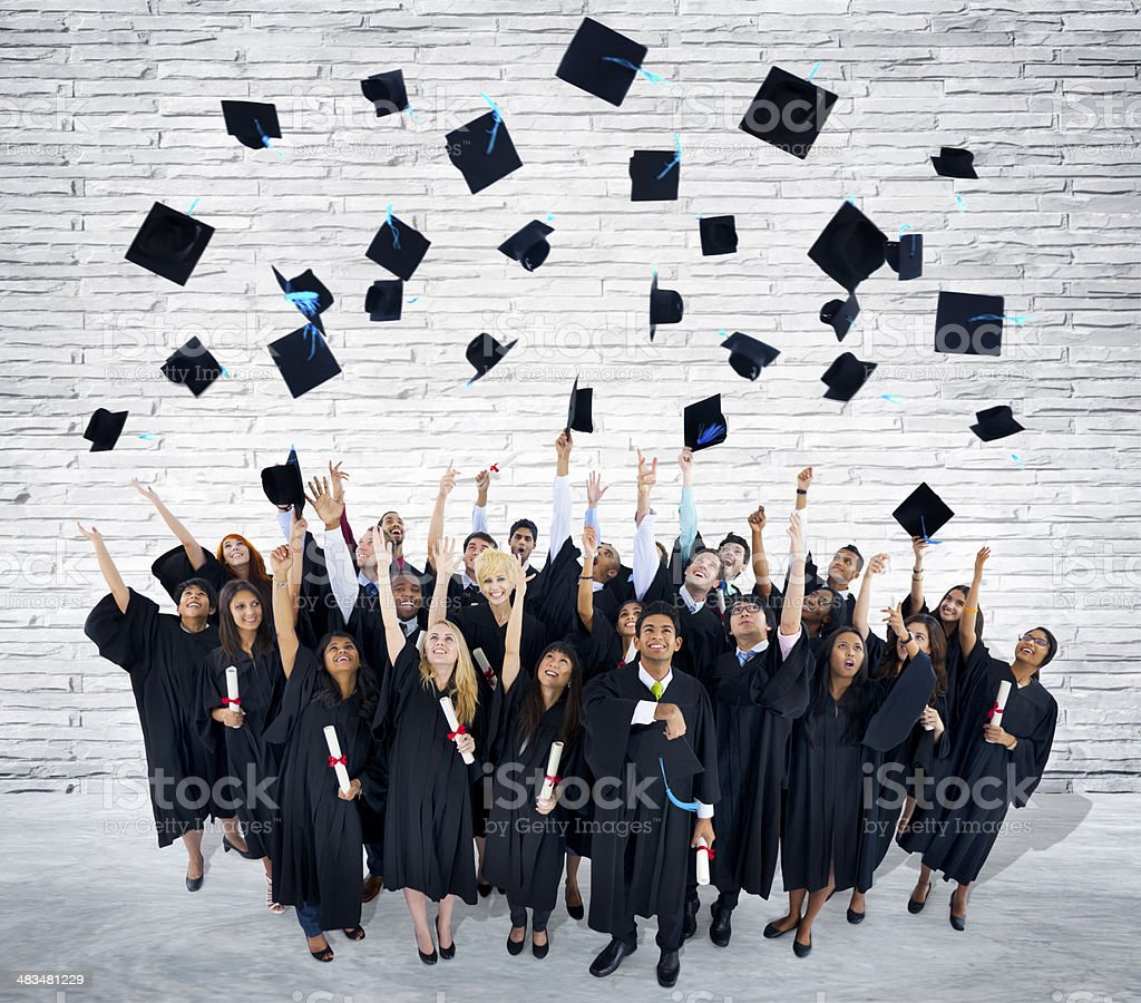World International Students Celebrating Graduation stock photo