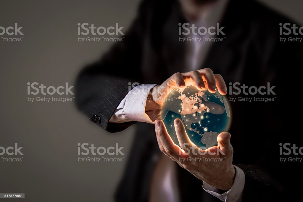 World is in your hands stock photo