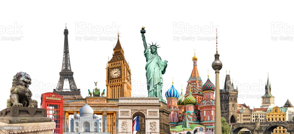 World landmarks photo collage isolated on white background, travel, tourism and study around the world concept - foto stock