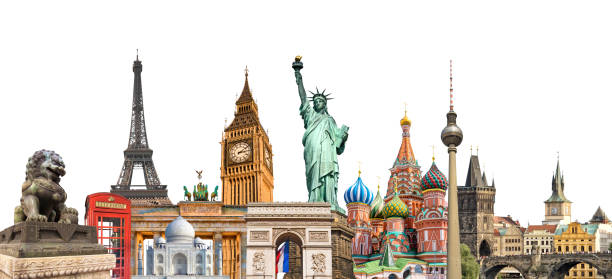 world landmarks photo collage isolated on white background, travel, tourism and study around the world concept - europe map stock photos and pictures
