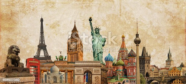 World landmarks photo collage on vintage tes sepia textured background, travel, tourism and study around the world concept, vintage postcard