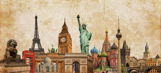 World landmarks photo collage on vintage tes sepia textured background, travel, tourism and study around the world concept, vintage postcard
