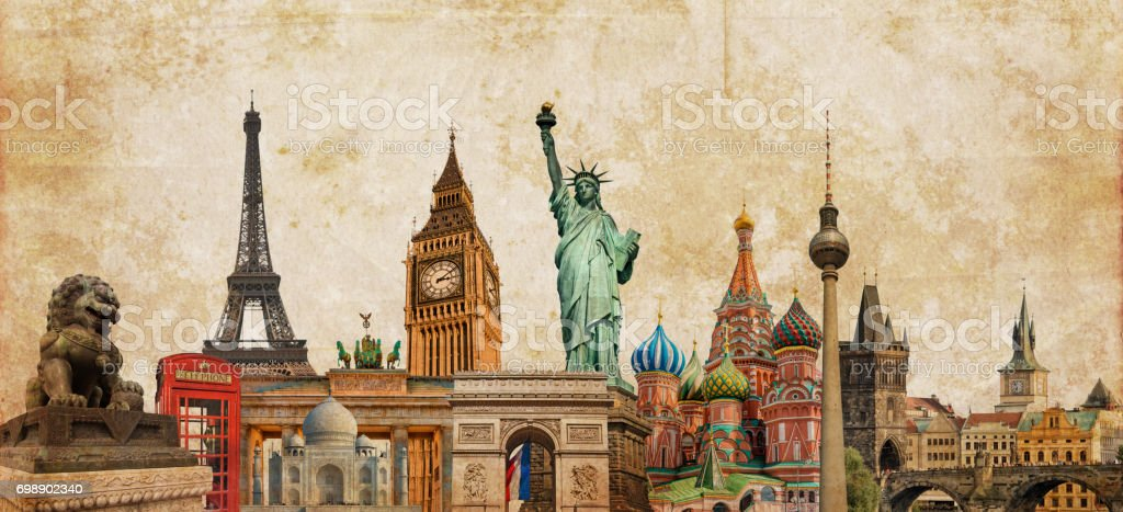 World landmarks photo collage on vintage tes sepia textured background, travel, tourism and study around the world concept, vintage postcard stock photo