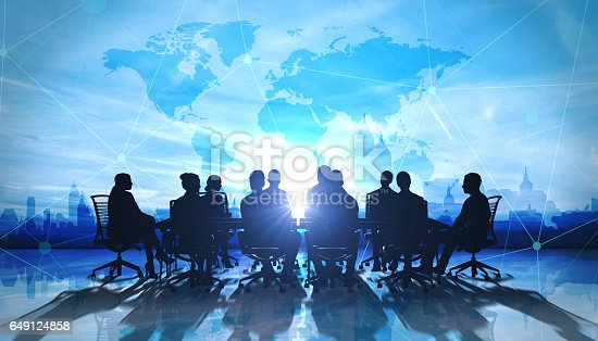 istock World Management Team in office silhouette 649124858