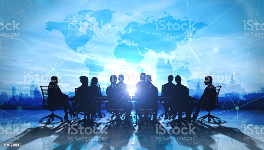 World Management Team in office silhouette - foto stock